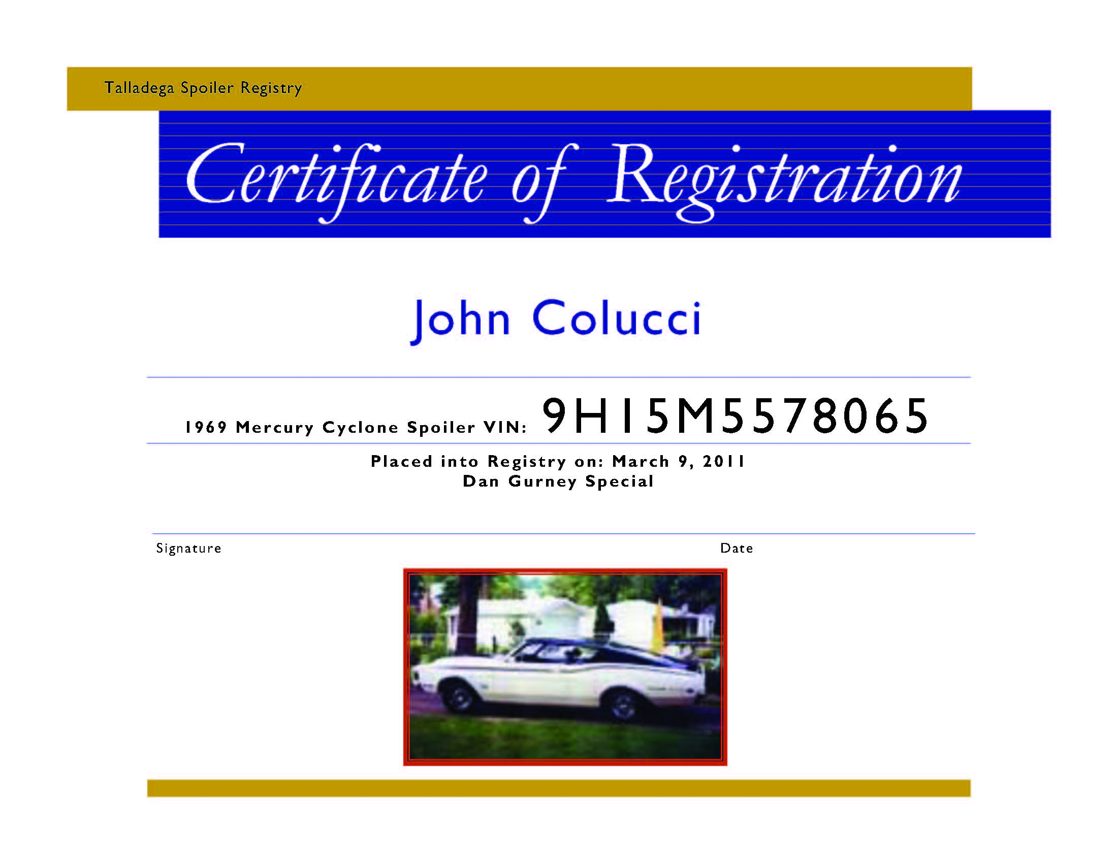 Photo of Team Member: Registration Certificate