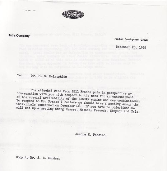 Photo of Bill France Wire to Ford; Dec. 20, 1968
