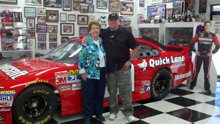 Allen with Bernice Wood, Glenn's wife at Wood Brothers Museum.