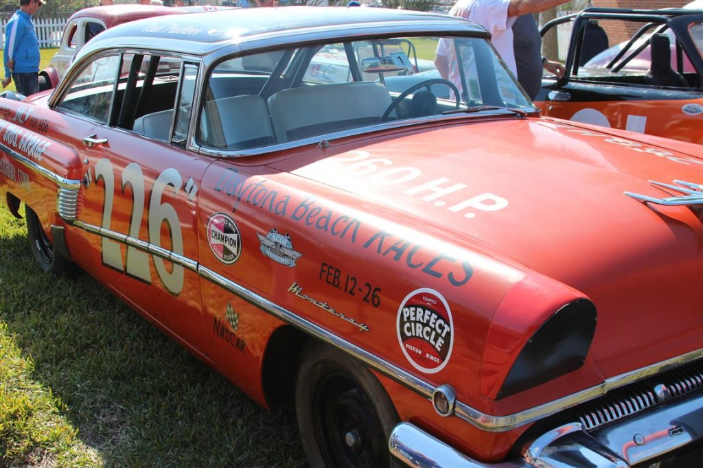 This Mercury was purchased new, had two payment made on it and then went racing on the beach. The owner/driver had a horrific accident in the North Turn and totaled the car but walked away. Ford sent him a new 56 Mercury body which he installed on the rebuilt frame and contiued to race for many more years.