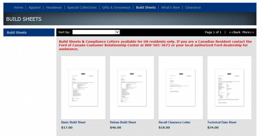 """This is the Shop Ford Gear web site page to order your """"Build Sheet""""."""