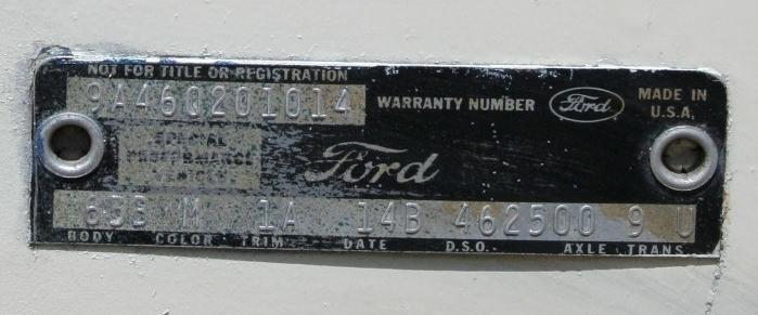 Ford Talladega VIN & Data Plate : Talladega and Spoiler Registry