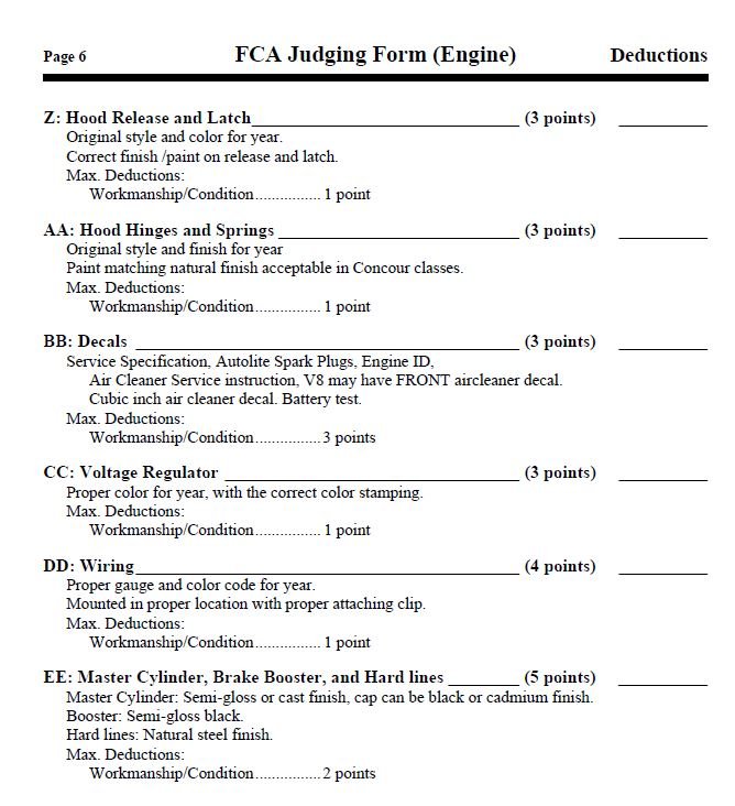 Engine Deductions; Page 6
